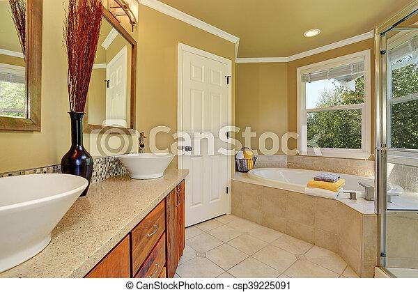 salle bains, couleur, luxueux, chaud, beige, intérieur
