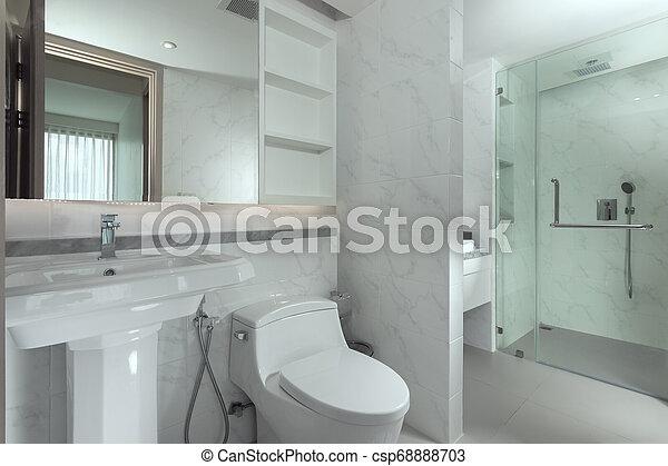 salle bains, couleur, moderne, style, gris, intérieur, gentil, vue