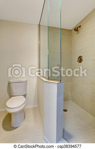 salle bains, douche, verre, intérieur, blanc, toilet.