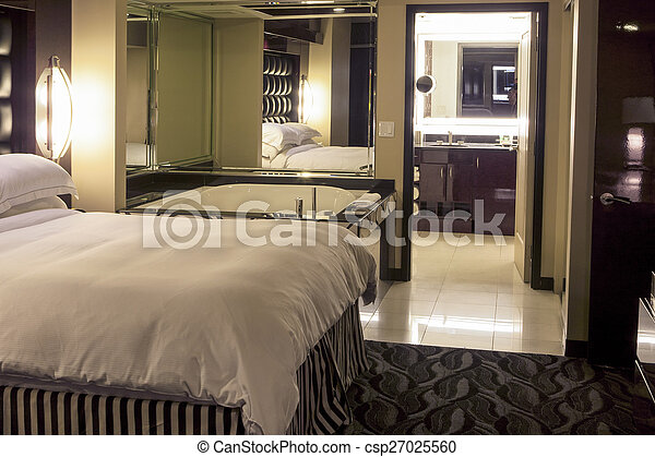 Salle Bains, Hôtel, Moderne, Adjascent, Chambre à Coucher, Intérieur,  Environm