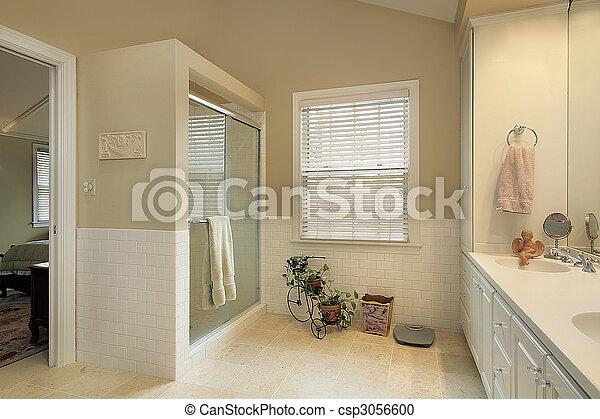 salle bains, maître, murs, or - csp3056600