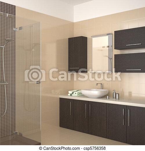Salle bains, moderne, beige. Salle bains, moderne, equipment ...