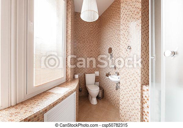 salle bains, moderne, douche, luxe, intérieur, fenêtre., cabine, design.