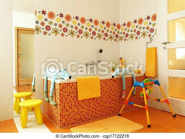salle bains, moderne, enfants, coloré