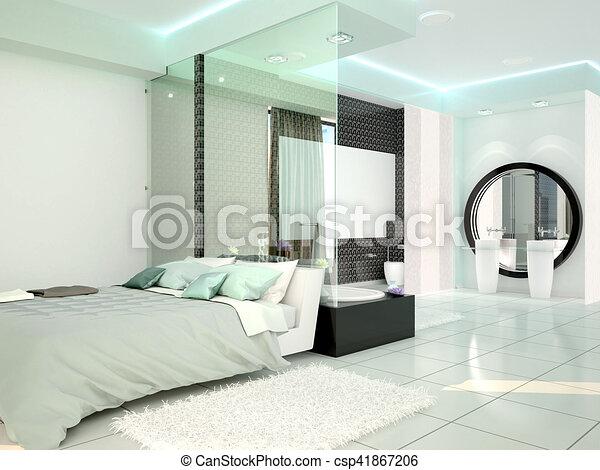 Salle bains, moderne, illustration, chambre à coucher, technologie ...