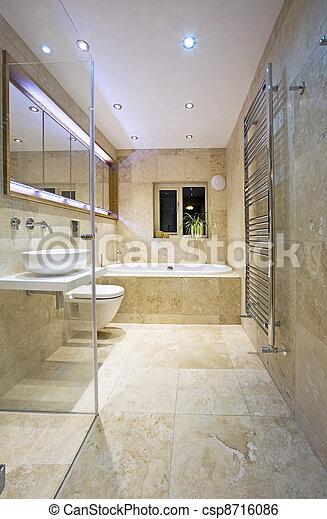 Salle bains, moderne. Salle bains, travertin, moderne, contemporain ...