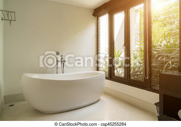 salle bains, moderne, intérieur, ovale, blanc, baignoire