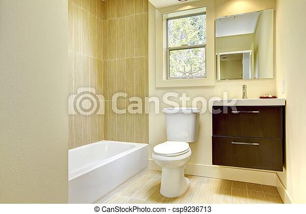 salle bains, moderne, jaune, beige, nouveau, tiles.
