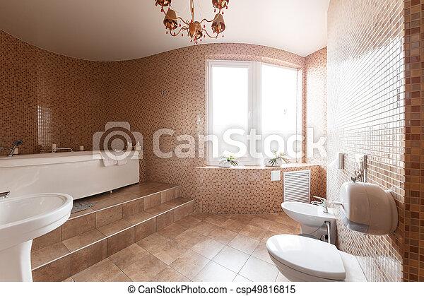 salle bains, moderne, luxe, intérieur, fenêtre., baignoire, design.