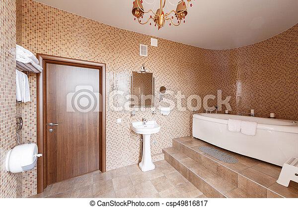 Salle bains, moderne, luxe, intérieur, fenêtre., baignoire, design ...