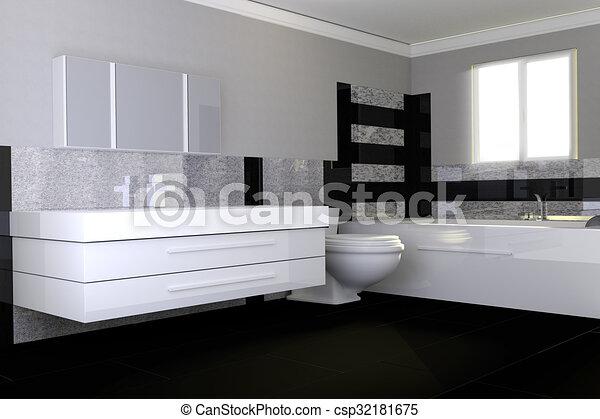 Salle bains, moderne, pierre, noir, granit, blanc.