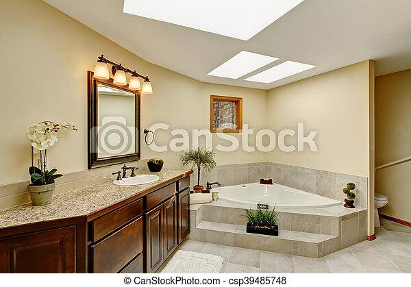 salle bains, moderne, sommet, compteur, cabinet, granit, vanité