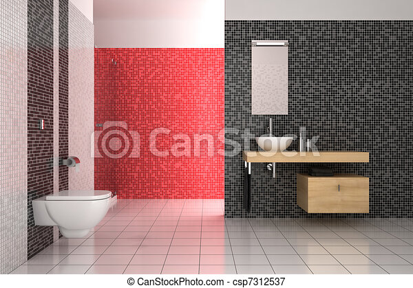 Salle bains, moderne, tuiles, noir, blanc rouge.
