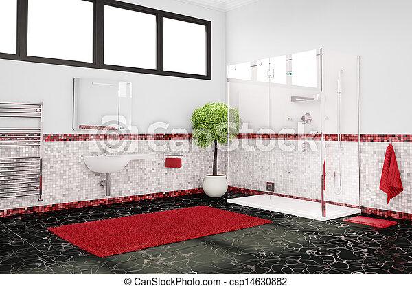 Salle bains, noir, blanc rouge. Salle bains, concept, couleur, noir ...