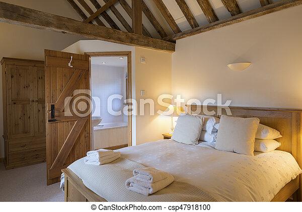 salle bains, petite maison, chambre à coucher, intérieur, coin, vacances,  affiché