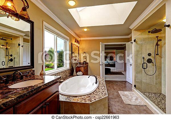 salle bains, porte, bain, douche, verre, luxe, intérieur, baquet