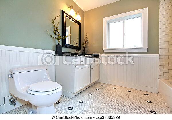 salle bains, tailler, planche, mur, blanc, cabinet, vert, intérieur,  miroir., murs, carreau, vanité