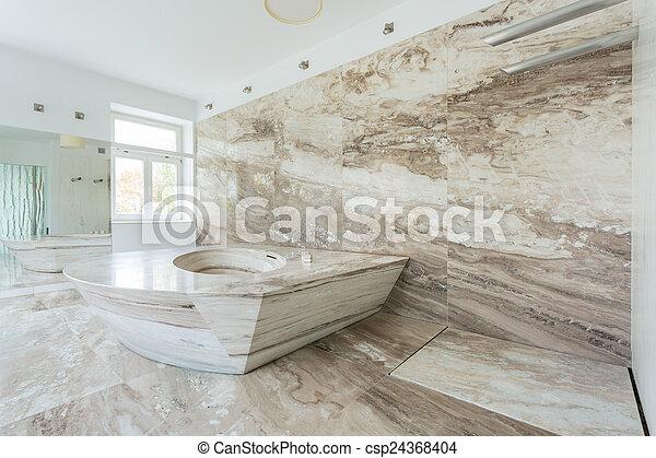 Salle bains, tuiles, luxe, marbre. Intérieur, salle bains, marbre ...