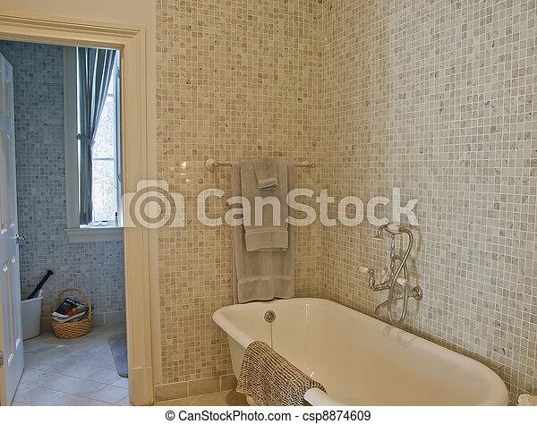 salle bains, vieux façonné, carreau, baquet, mosaïque