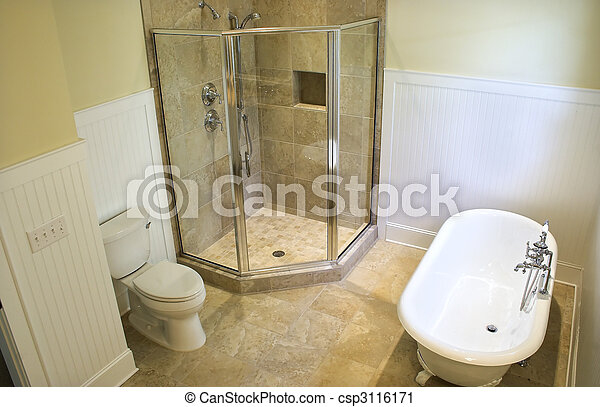 salle bains, vue haut - csp3116171