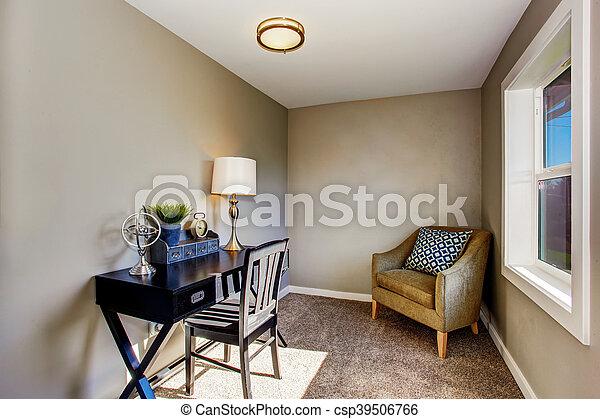 Salle bureau atnique noir maison petit table usa armchair