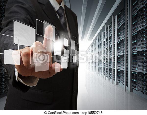 salle, business, point, virtuel, serveur, boutons, homme - csp10552748