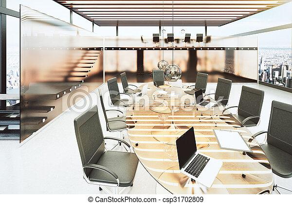 Salle chaises bureau moderne verre clair noir table réunion