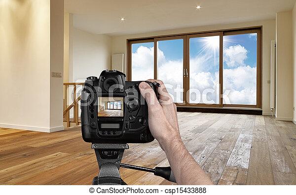 salle de séjour, appareil photo, numérique, photographier, vide, homme - csp15433888
