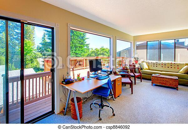 Salle de séjour bureau maison intérieur maison vue balcon