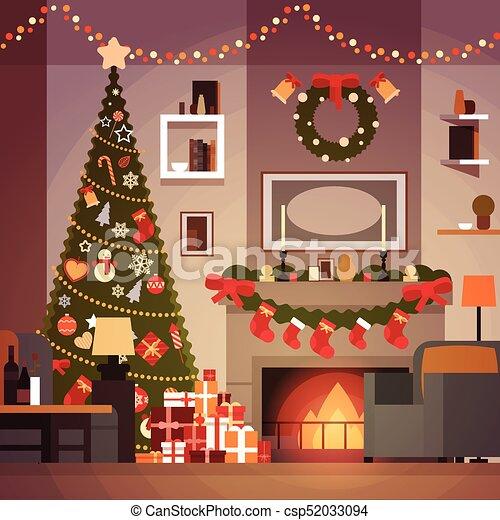 Salle De Sejour Cheminee Arbre Pin Fetes Decoration Guirlandes Annee Interieur Maison Nouveau Noel
