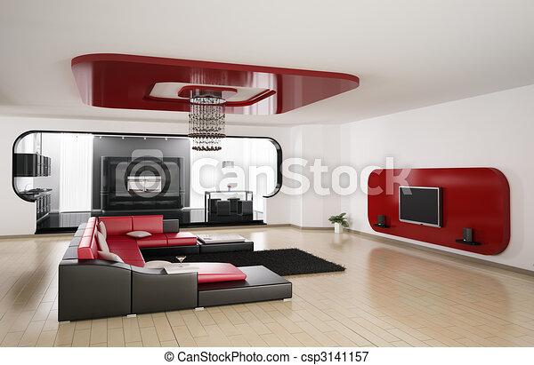 salle de séjour, cuisine, render, 3d - csp3141157