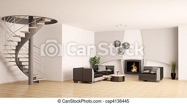 salle de s jour escalier moderne int rieur chemin e 3d salle de s jour escalier moderne. Black Bedroom Furniture Sets. Home Design Ideas
