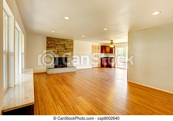 salle de séjour, grand, nouveau, blanc, fireplace. - csp9002640