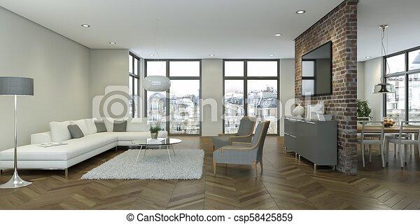 salle de séjour, moderne, conception, intérieur, blanc