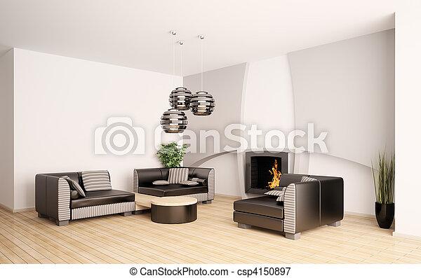salle de séjour, moderne, intérieur, cheminée, 3d - csp4150897