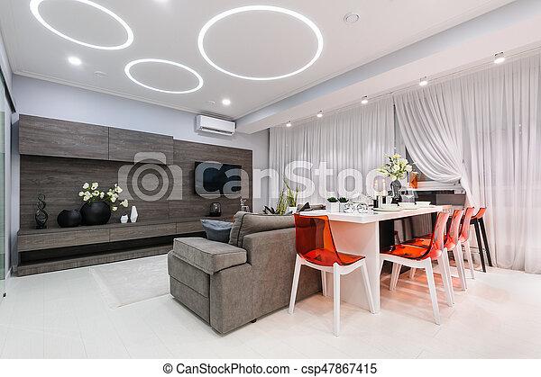 Salle De Séjour, Moderne, Table Haute, Blanc   Csp47867415