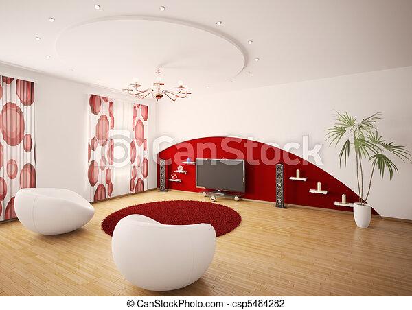 salle de séjour, render, moderne, intérieur, 3d - csp5484282