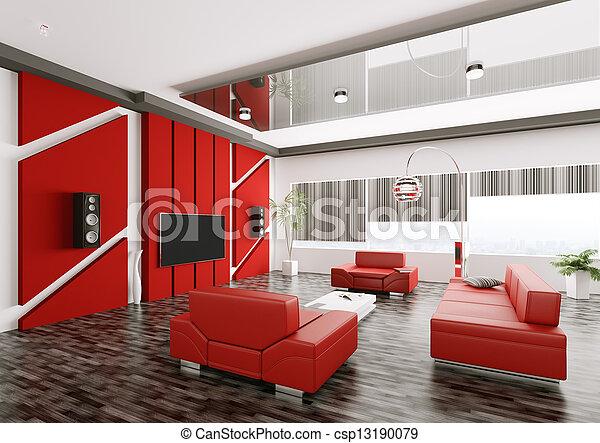 salle de séjour, render, moderne, intérieur, 3d - csp13190079