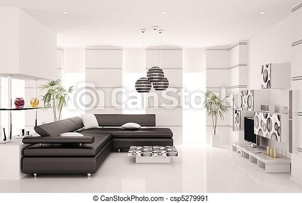 salle de séjour, render, moderne, intérieur, 3d - csp5279991