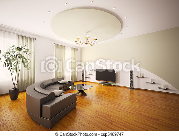 salle de séjour, render, moderne, intérieur, 3d - csp5469747