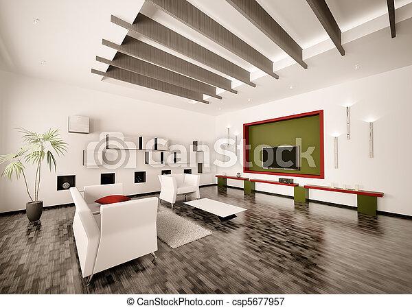 salle de séjour, render, moderne, intérieur, 3d - csp5677957
