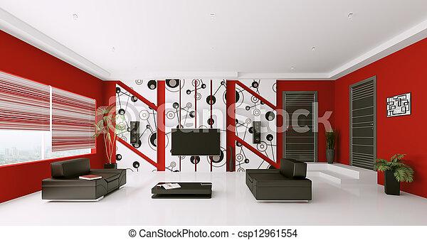 salle de séjour, render, moderne, intérieur, 3d - csp12961554