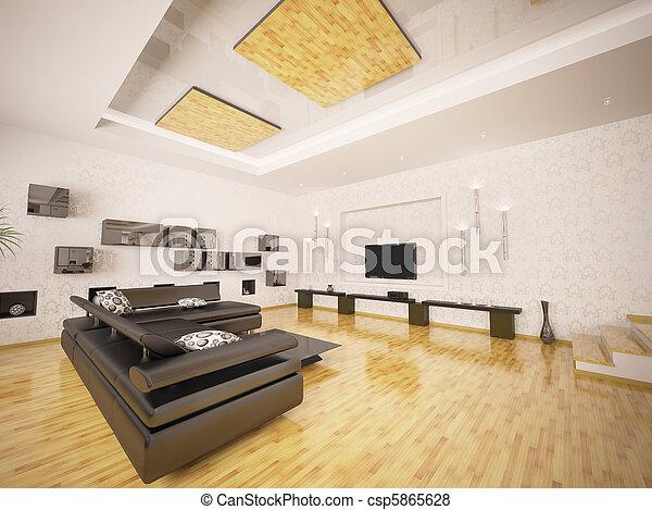 salle de séjour, render, moderne, intérieur, 3d - csp5865628