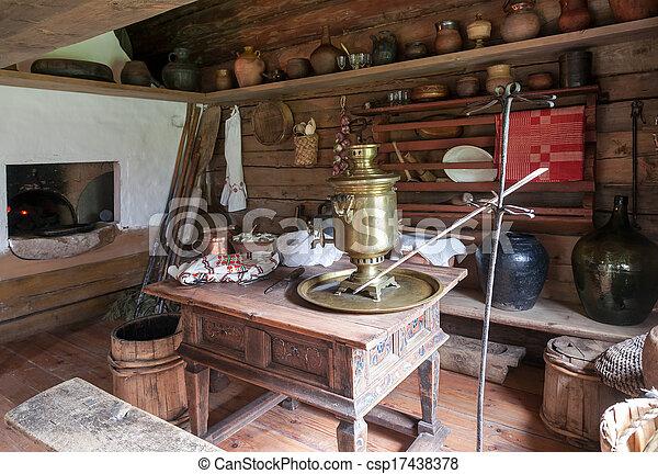 Salle, izba, bois, traditionnel, intérieur, russe, cuisine.