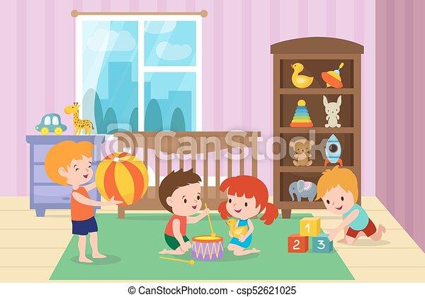 salle jeux illustration enfants jardin enfants vecteur illustration vectorielle. Black Bedroom Furniture Sets. Home Design Ideas