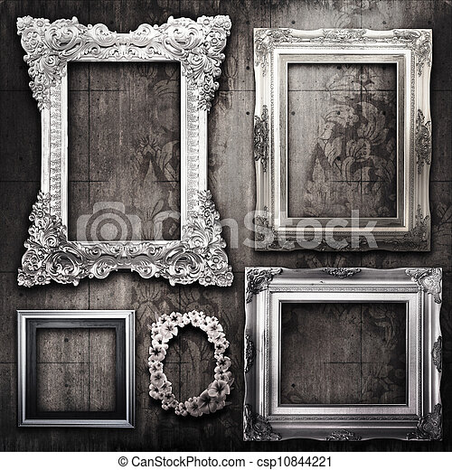 salle, papier peint, grungy, victorien, cadres, argent - csp10844221