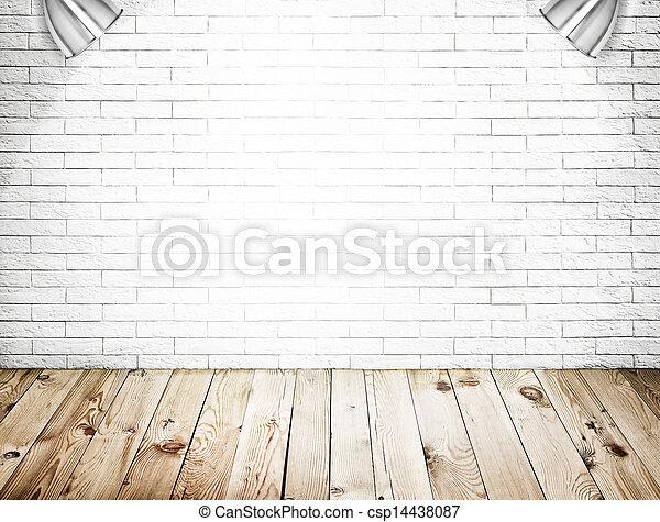 salle plancher mur bois fond int rieur brique blanche. Black Bedroom Furniture Sets. Home Design Ideas