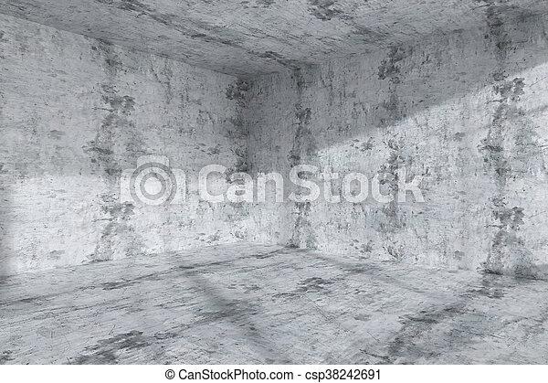 Beton In Interieur : Salle sombre béton intérieur coin vide. tacheté plafond