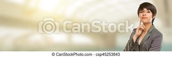 salle, text., jeune, course, adulte, femme, mélangé, portrait - csp45253843