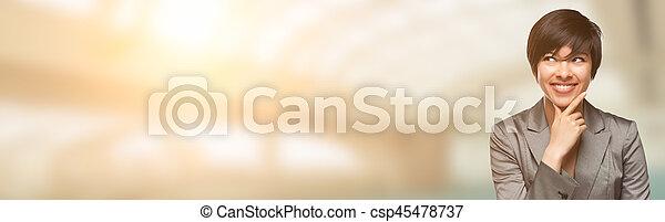 salle, text., jeune, course, adulte, femme, mélangé, portrait - csp45478737